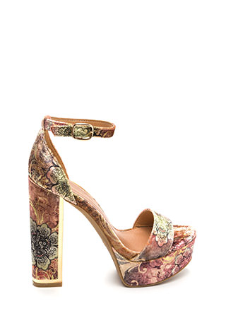 Gleam Up Chunky Floral Velvet Heels