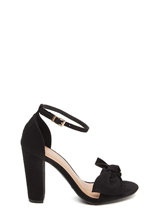 Bow Beyond Chunky Faux Suede Heels