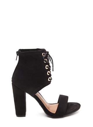 Tie You Down Chunky Faux Suede Heels