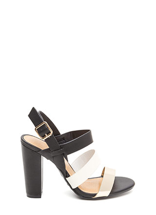 Three For All Strappy Colorblock Heels
