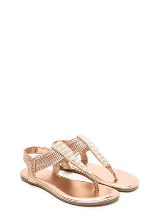 Stack Up Shiny Jeweled Thong Sandals
