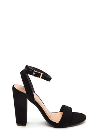Strappy To Help Chunky Faux Nubuck Heels