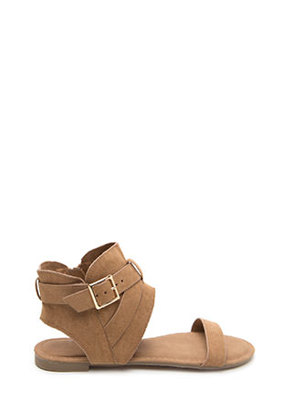 Cross Me Faux Suede Cut-Out Sandals