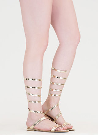 Wrap Party Faux Patent Gladiator Sandals