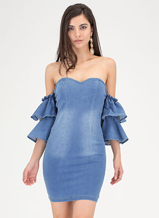 Denim Play Ruffled Off-Shoulder Dress