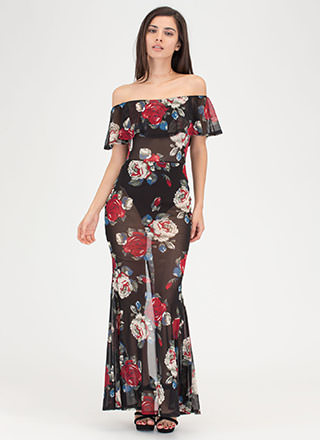 Perfect Petals Sheer Off-Shoulder Dress