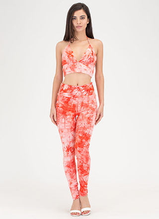 Ends In A Tie-Dye Halter And Legging Set