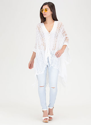 Drift Away Sheer Lace-Up Top