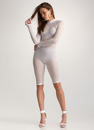 Bomb Dot Net Sports Mesh Capri Jumpsuit