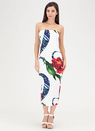 Flowers In The Breeze Midi Tube Dress