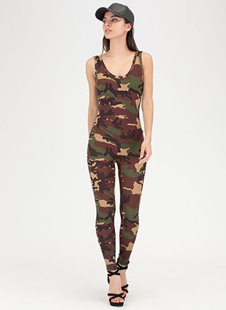 At Ease Plunging Camo Jumpsuit