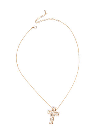 Cross Your Mind Rhinestone Necklace