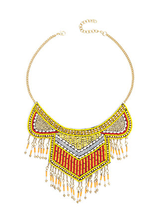Beyond Boho Beaded Fringe Necklace