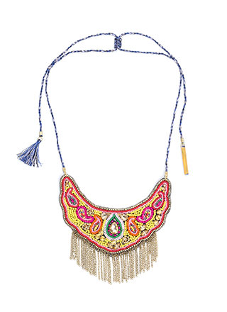 Boho Flow Beaded Fringed Necklace