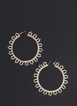 Chic Treatment Rhinestone Hoop Earrings