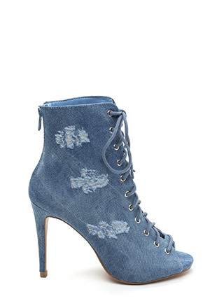 Distress Level Lace-Up Denim Booties