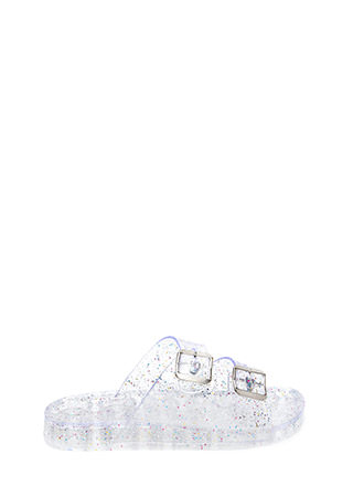 Clearly Glitter Jelly Slide Sandals