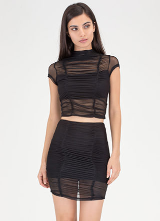 Ruched Into It Mesh Two-Piece Dress