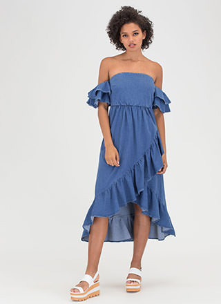 Denim Doll Ruffled Off-Shoulder Dress