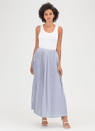 Sweet Pleats Satin Maxi Skirt