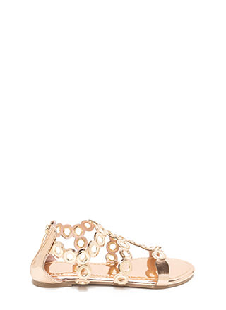 Ring To Light Caged Metallic Sandals