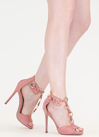 Ring It Together Faux Suede Heels