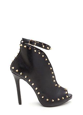 Stud-y Time Plunging Faux Leather Heels
