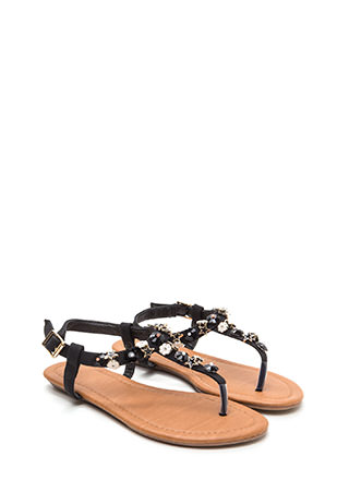 Picking Daisies Sparkly T-Strap Sandals