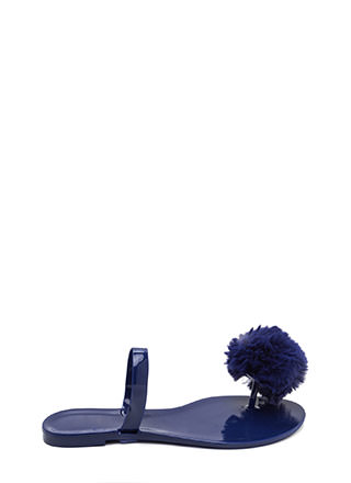 Fur All Time Pom-Pom Jelly Sandals