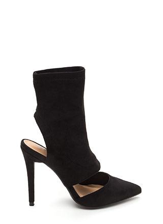 Take A Cut-Out Faux Suede Heels