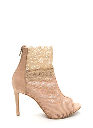 Sheer All Night Mesh 'N Lace Booties