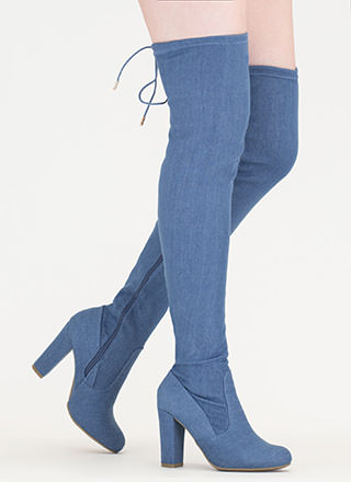 Denim Wonder Chunky Thigh-High Boots