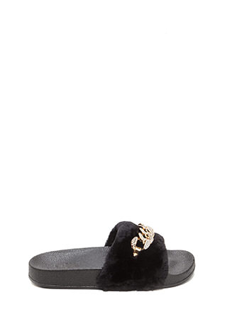 Furry Up Glitzy Chain Slide Sandals