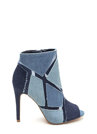 Block This Way Sheer Denim Booties