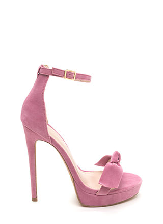 Bow Really Strappy Faux Suede Heels