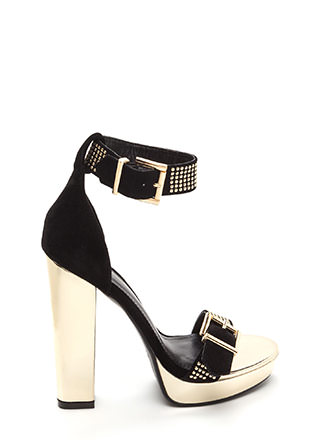 Buckle Up Studded Faux Suede Heels