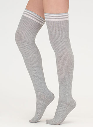 Sport These Striped Thigh-High Socks