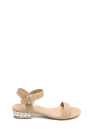Pearl Dive Strappy Faux Nubuck Sandals