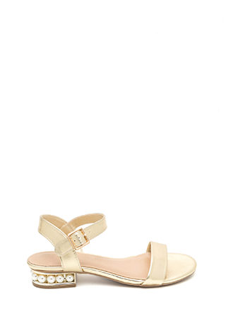 Pearl Dive Strappy Metallic Sandals