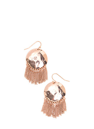 Dome Run Chain Fringe Earrings