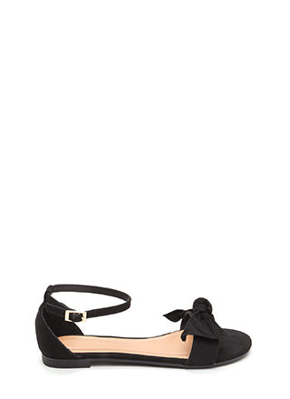 Bow For Gold Faux Suede Sandals
