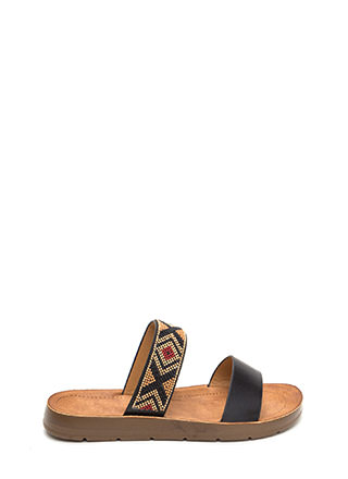 Southwest Journey Beaded Slide Sandals