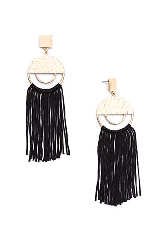 Fringe Forward Medallion Earrings