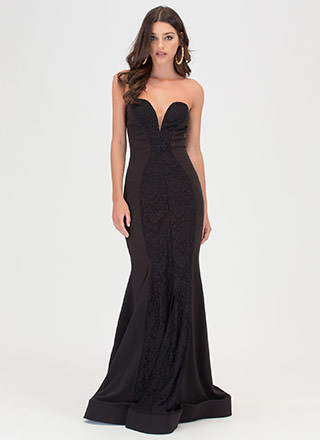 Red Carpet Love Lace Mermaid Maxi Dress