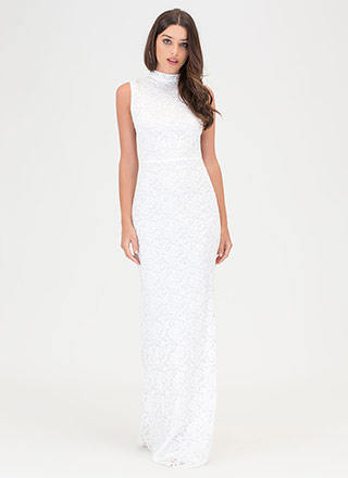 Earn A Lace Sheer Mermaid Maxi Dress