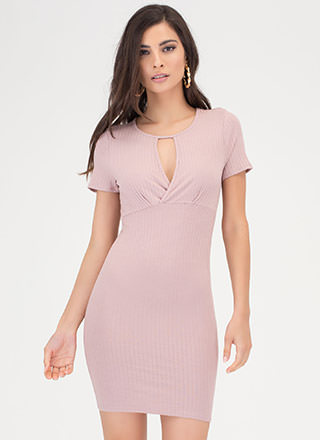 Keyhole To Success Rib Knit Dress