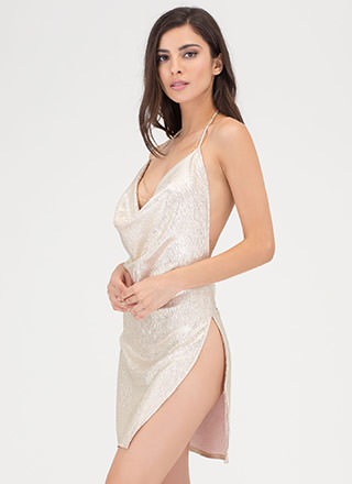 Metallic Magic Draped Halter Dress