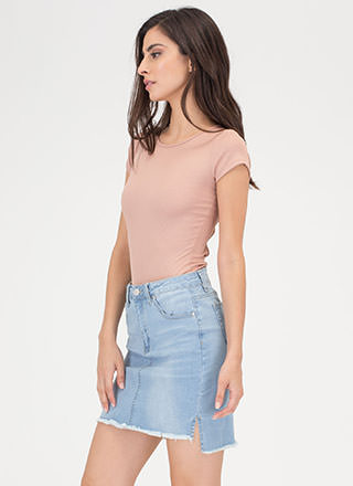Fray For Keeps High-Low Denim Skirt