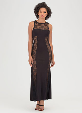 Sheer Luck Lace Inset Maxi Dress