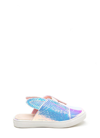 Hop To It Shiny Snakeskin Slide Sneakers